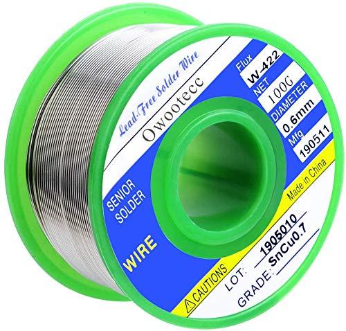 Fil de soudure, Owootecc 0.6mm fil à souder pour de soudure Sn 99.3%,Cu 0.7% avec Colophane Base pour Soudure Électrique, 100g