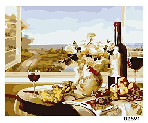 QRTQ DIY schilderen op cijfers voorbedrukt abstracte gourmet-rode wijn canvas-olieverfschilderij handgeschilderd olieverfschilderij op canvas cadeau kits huis decoratie - zonder lijst 40x50 cm