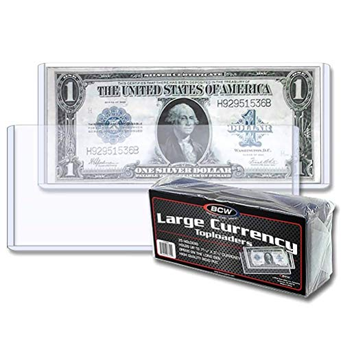 BCW Clear Large Currency Topload Holders, Size 7-9/16″ x 3-3/8″ (25-Count)