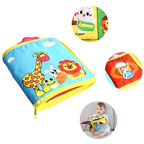 DQTYE Ultra Soft Baby First Cloth Book 3D Libros de actividades tranquilas Aprender a un libro sensorial con mango Habilidad básica para la vida Juguetes educativos para niños