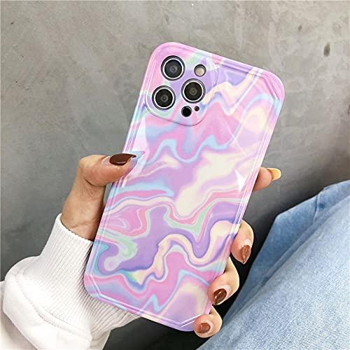 INS Fashion Ripple Funda para teléfono para iPhone 11 Pro MAX 12 Mini 7 8 Plus X XR XS SE 2020 Funda Protectora Suave Colorida Coque-for_iPhone_12Mini_A