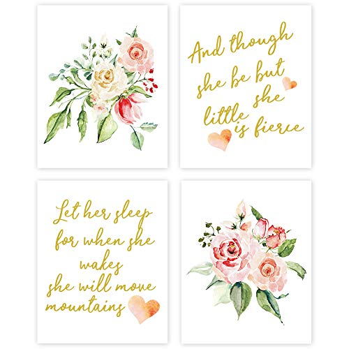 Inspirational Quote Typography Watercolor Floral Art Painting Poster,Motivational Letterings Cardstock Art Print For Kids Girls Room Wall Art Decor (set of 4, 8'' x 10'' ,Unframed)