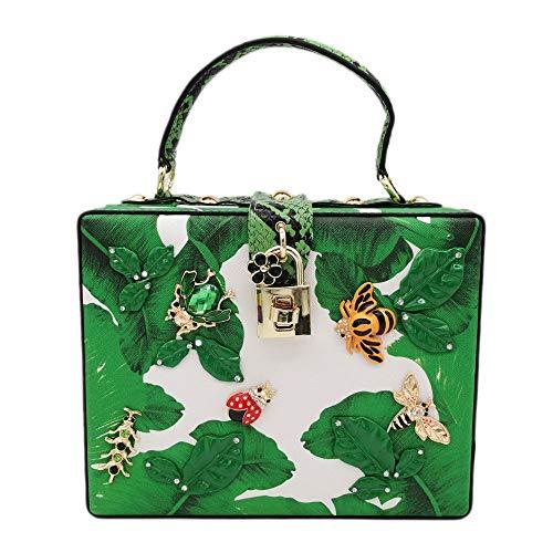 Warm Thuis Banaan Leaf Insect Box-party Pakket Afdrukken Handtas Schoudertas Creatieve Plezier Persoonlijkheid Meisje Bruiloft Party Gift 20 * 8 * 16 cm Europese Amerikaanse Mode Leuke
