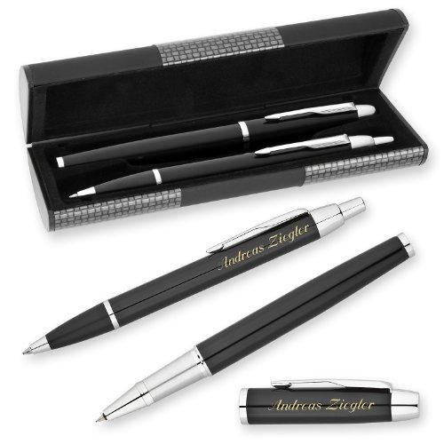 PARKER Schreibset IM Schwarz C.C. mit persönlicher Laser-Gravur Tintenroller und Kugelschreiber im LOGIC Geschenk-Etui