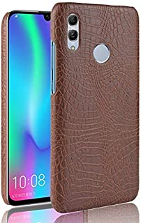 Protect Huawei Y7 2019 Luxury Classic Crocodile Skin Pattern [Ultra Slim] PU Leather Anti-Scratch PC Protective Hard Phone case Cover for Fashion (Color : Brown)