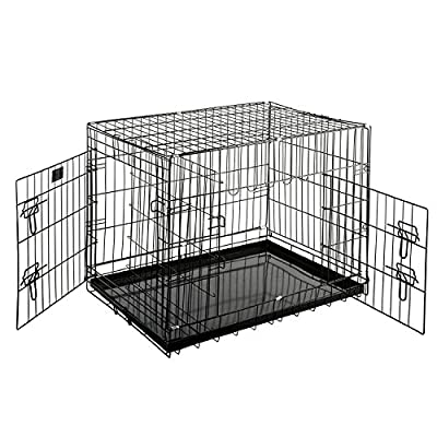 Folding Heavy Duty Pet Crate Kennel Wire Cage for Dogs Cats or Rabbits