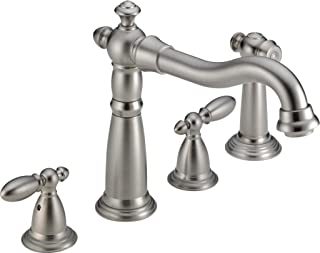 Delta Faucet Victorian 2-Handle Widespread Kitchen Sink Faucet with Side Sprayer in Matching Finish, Stainless 2256-SS-DST
