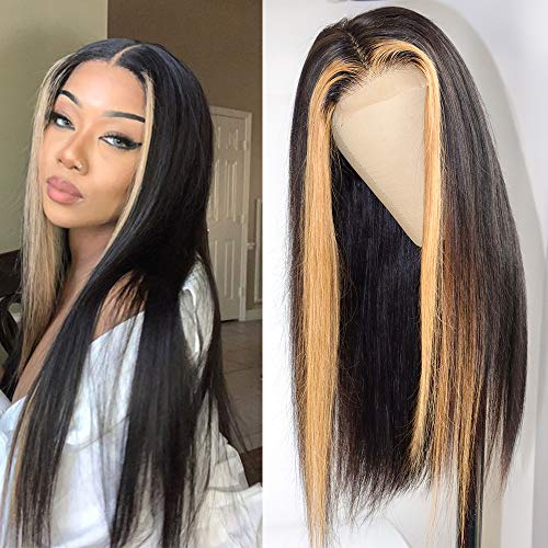 Brazilian Vigrin Straight Highlight Lace Closure Human Hair Wigs 12A Grade 220% Density Brazilian Ombre Color 4x4 Lace Closure Wig Remy Hair Lace Front Wig(18Inch,4x4 Highlight wig)