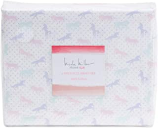 Nicole Miller Pastel Unicorns with Shimmering Polka-Dots Kids Cotton Sheet Set (Full)