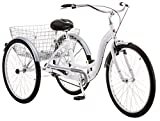 Schwinn Meridian Adult Trike, Three Wheel Cruiser Bike, 1-Speed, 26-Inch Wheels, Cargo Basket, White