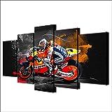 CWLLWC lienzo, Arte de la pared para vivir 5 cuadro de pintura decorativo de moto Rider ninguÌ n marco de montaje