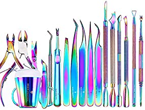 BORN PRETTY 20PCS Premium Cuticle Nippers Pusher trim Tools Set, Professional Ingrown Toenail File and Lifter, Cuticle Remover Trimmer Cutters Tool Gel Nail Art Kit Stainless Steel