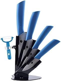Couteaux de cuisine + Peeler + Couteau Support en céramique couteau 8 Couleur poignée blanche lame Couteaux de cuisine (Co...