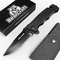 BearCraft Cuchillo Plegable Negro con **E-book Gratuito** | Navaja de Bolsillo Filosa para Supervivencia con Filo Dentado | Pequeño Cuchillo de Mano con Hoja de Acero Inoxidable y Caja de Aluminio