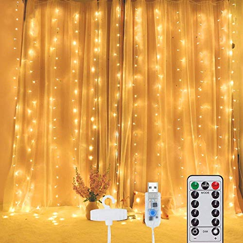 LED Lichtervorhang 3M*3M, Lichterkette schlafzimm 300 LEDs USB Vorhanglichter String Light 8 Modi mit Fernbedienung Timer-Wasserfest, für Weihnachten, Innen und außen Deko,Warmweiß