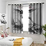 hengshu Halloween Room Darkening Curtains for Bedroom Dead Skull Skeleton Out of The Grave and Flying Bat Hand Drawn Spooky Picture Home Decor Blackout Curtains W72 x L84 Inch Black White