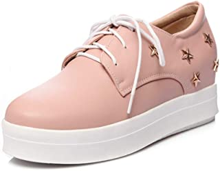 Veveca Women Lace Up Hidden Wedge Mid Heel Stars Dress Oxford Shoes Round Toe Platform Casual Loafer Shoes