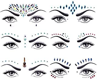 Face Jewels Glitter, Lady Up 6 PCS Face Jewels Tattoo Set Mermaid Face Gems Rhinestones Eyes Body Stickers Bindi Crystals ...