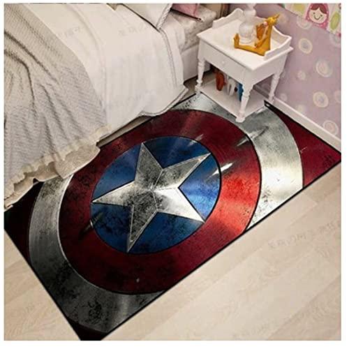 HFDSG Alfombra De Dibujos Animados Anime Dormitorio Sala De Estar Habitación para Niños Marvel Capitán América Baño Rectangular Moderno Simple Decoración De La Habitación Alfombra