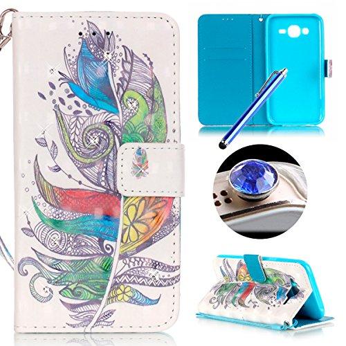 Samsung Galaxy J5(2015) Housse Coque de Téléphone, Etsue Cute Mode Colorful Design Flip Housse PU Cuir Coque Stand Housse de Protection pour Samsung Galaxy J5(2015),Coque est Bookstyle Folio Motif [Colorful Campanule] et Cristal Cloutés pour Samsung Galaxy J5(2015) Joindre 1 x Corde + 1 x Bleu stylet + 1 x Bling poussière plug (couleurs aléatoires)