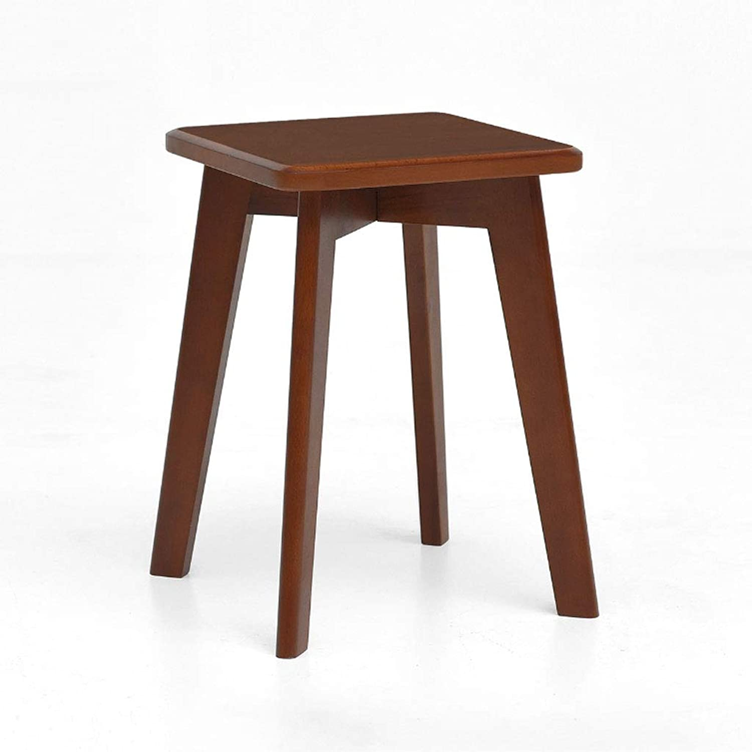 ZXW STOOLS- Solid Wood Stool Simple Modern Living Room Dining Stool Fashion Makeup Stool Adult Small Bench (color   Walnut color, Size   30x30x43cm)
