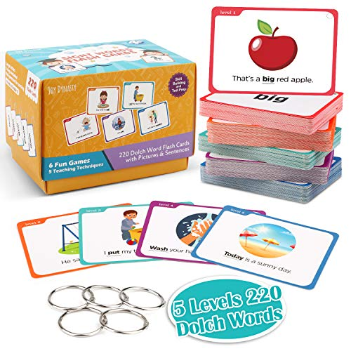 Joy Dynasty Sight Words Flash Cards with Pictures & Sentences - 220 Dolch Sight Word Reading Flash Card Bundle Kit(Preschool, Kindergarten, 1st, 2nd & 3rd Grade)