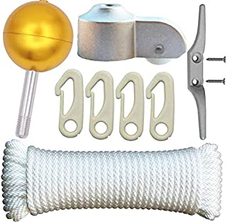 """Flagpole Repair Parts Kit - 50 Feet Flag Halyard Rope + 3"""" Flag Pole Topper Gold Ball + 4"""" Cleat Hook + 4 PCS Flag Clip Ho..."""