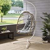 Walker Edison Carmel Modern Rattan Hanging Egg Swing Chair with Stand, 78 Inch, Brown and Grey