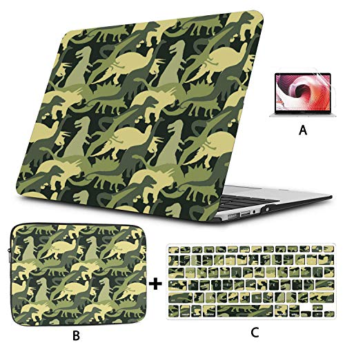 Laptop Hard Case Camouflage Army Dinosaur Tee Shirt MacBook Cases Hard Shell Mac Air 11'/13' Pro 13'/15'/16' with Notebook Sleeve Bag for MacBook 2008-2020 Version