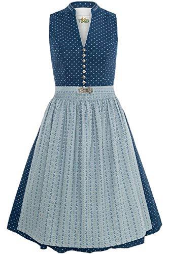 Wenger Austrian Style Damen Dirndl hochgeschlossen mit Broschenschürze Blau, 87-BLAU, 32