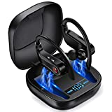 Wireless Earbuds, Bluetooth Headphones with Microphone True Wireless Hi-Fi Stereo Sport Earphones in-Ear Running Headset, Noise Cancelling Earbuds with Earhooks Charging Case for iPhone 11 Pro Samsung
