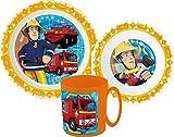 Kinder-Geschirr Set mit Teller, Müslischale und Tasse | Jungen und Mädchen Geschirrset (Feuerwehrmann Sam)