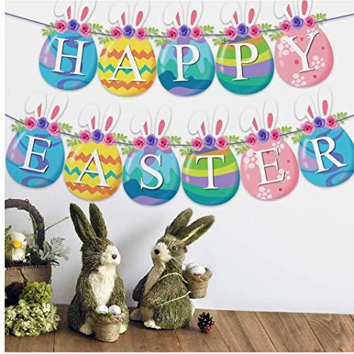 TOPofly Garland Pascua Kit de Papel de Pascua Banderas temáticas Que cuelga la decoración del hogar de Pascua Fiestas de cumpleaños