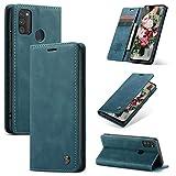 FMPC Handyhülle für Samsung Galaxy M30S/M21 Premium Lederhülle PU Flip Magnet Hülle Wallet Klapphülle Silikon Bumper Schutzhülle für Samsung Galaxy M30S/M21 Handytasche - Blaugrün