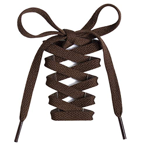 Handshop Flat Shoelaces 5/16' - Shoe Laces Replacements For Sneakers and Athletic Shoes Boots Brown 91cm