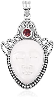 Pendant Necklace 925 Sterling Silver Ox Bone Carved Face Garnet Jewelry for Women Gift