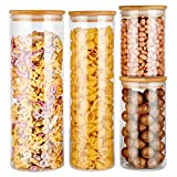 Glass Food Storage Jars Containers, Glass Storage Jar with Airtight Bamboo Lids Kitchen Glass Canisters For Coffee, Flour, Sugar, Candy, Cookie, Spice, Set of 4