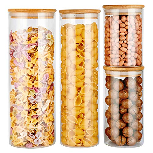 COPDREL Glass Food Storage Jars Containers, Glass Storage Jar with Airtight Bamboo Lids Kitchen Glass Canisters For Coffee, Flour, Sugar, Candy, Cookie, Spice and More Set of 4