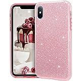 MATEPROX iPhone XS MAX Funda Clear Crystal Shiny Glitter Sparkly Bling Cute Thin Slim Girls para iPhone XS MAX 6.5-Rosa