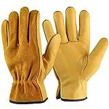 Gardening Gloves Guantes de cuero de vaca, Guantes de trabajo de cuero transpirables y flexibles para hombres y mujeres, Guantes de trabajo pesado para jardinería, Guantes Anticorte (XL)