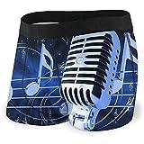 Web--ster Boxer Briefs Shorts Custom Men 'avec Microphone avec Notes De Musique sous-Vêtements sous-Vêtements Imprimés Pack XL