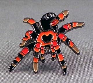 Spilla in Metallo smaltato a Righe a Forma di Ragno di tarantola (Nero e Rosso)