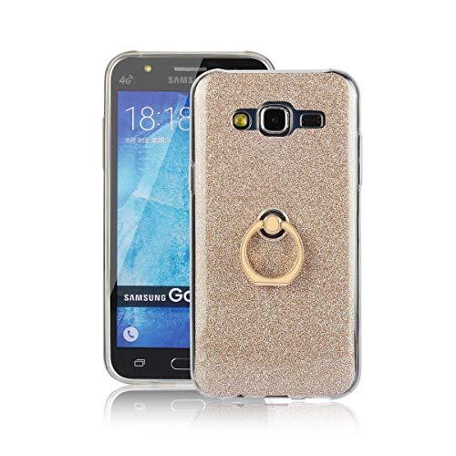 tinyue® Funda para Samsung Galaxy J5 (2015 Version, 5.0 Pulgada), Glitter Funda de Silicona TPU Suave Ultrafina Cubierta de protección Golpes con Anillo de Metal Hebilla de Concha, Dorado