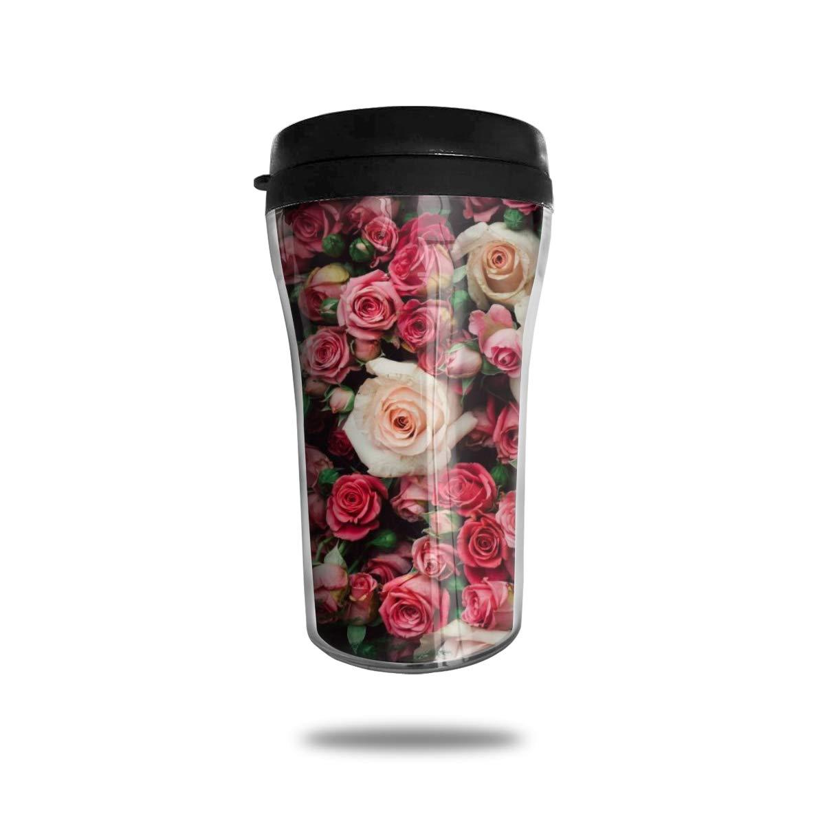 コーヒーマグ、束のばら熱旅行マグ、ふたが付いている食品等級のABSによって絶縁される携帯用コーヒーカップ、250ml