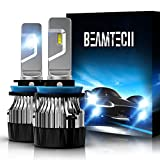 BEAMTECH H11 LED Bulb, 10000LM 60W 30mm Heatsink Base CSP Chips H8 H9 6500K Xenon White Extremely Super Bright Conversion Kit Small Size Halogen Replacement