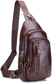 CHARMINER Sling Bag, Leather Chest Bag Crossbody Shoulder Business Backpack Outdoor