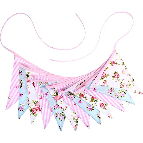 Flamingo Floral Summer Fabric Bunting Hawaii Double Sized Vintage Chic Banner Garland 11.5 Feet 12 Flags for Tea Party Wedding Birthday Baby Shower (Style 3)