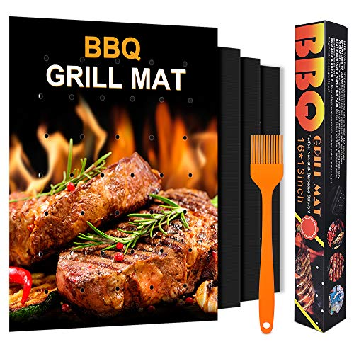 Luxamary BBQ Grill Mat Non-Stick with Holes,【2020 Upgraded 】 Set of 3 Grilling Accessories for Outdoor Barbecue, Works on Gas Charcoal Electric Grills,16 x 13 Inch, Black