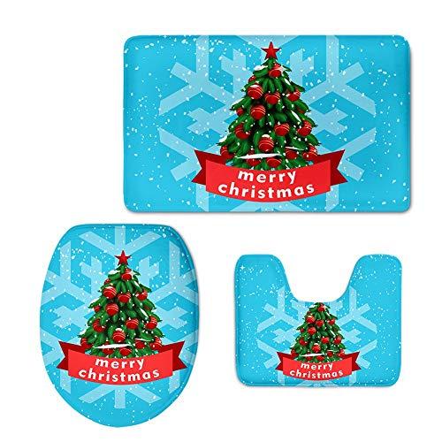 YSDDM Badmat Kerstboom Ontwerper Zachte Badkamer Toilet Stoel Cover Tapijt Vrolijk Kerstmis Print WC Toilet Stoel Tapijt In Toilet Stoelhoezen van Thuis & Tuin