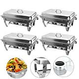 Hiram Chafing Dishes 4 Pack 9L/8 Quart, Stainless Steel Rectangular Chafer Full Size Pans, Chafing Dish Buffet Set for Catering Buffet Warmer with Folding Frame (4 Pack)